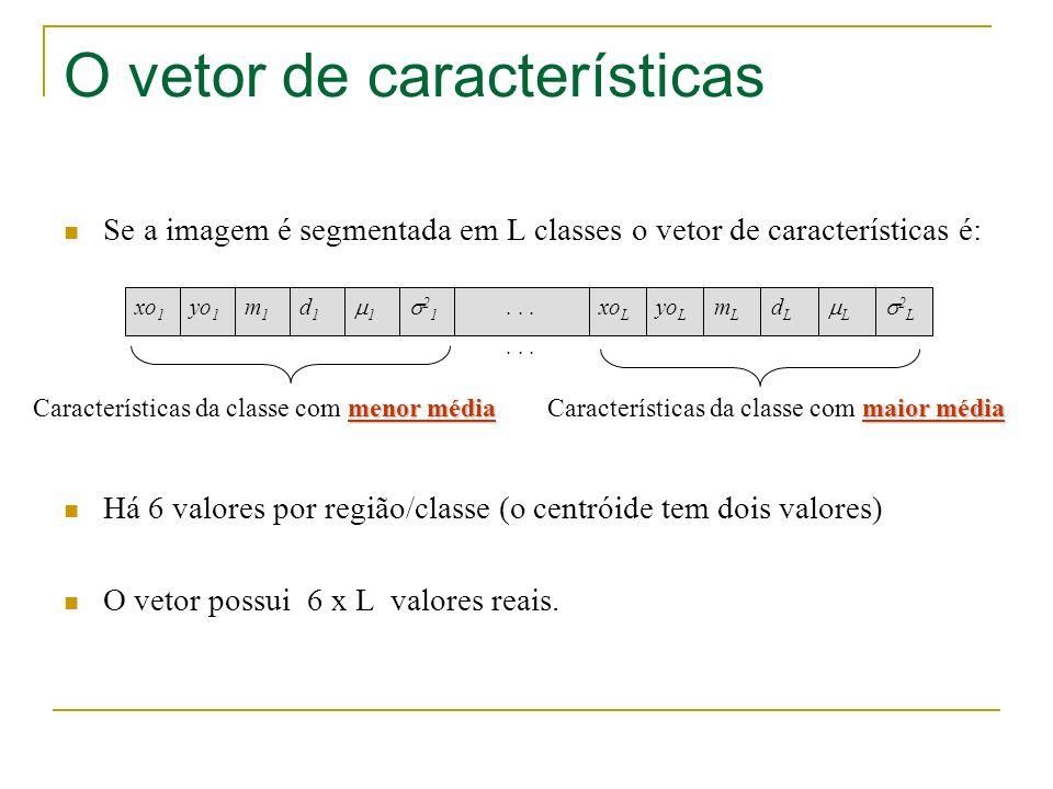 O vetor de características Se a imagem é segmentada em L classes o vetor de características é: Há 6 valores por região/classe (o centróide tem dois va