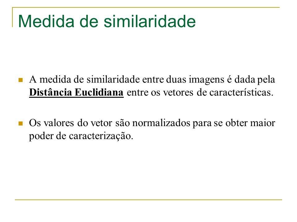 Medida de similaridade A medida de similaridade entre duas imagens é dada pela Distância Euclidiana entre os vetores de características. Os valores do