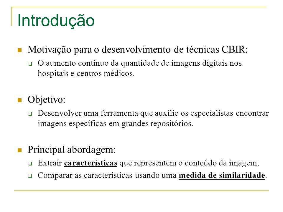 Introdução Motivação para o desenvolvimento de técnicas CBIR: O aumento contínuo da quantidade de imagens digitais nos hospitais e centros médicos. Ob
