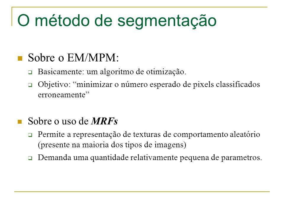 O método de segmentação Sobre o EM/MPM: Basicamente: um algoritmo de otimização. Objetivo: minimizar o número esperado de pixels classificados erronea