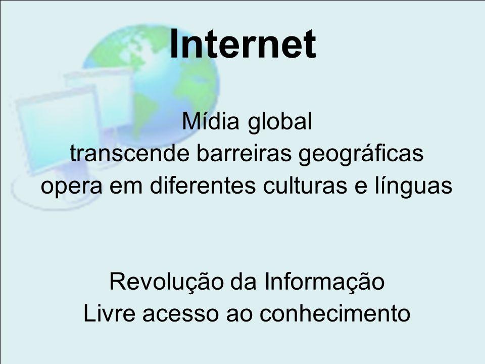 Internet Mídia global transcende barreiras geográficas opera em diferentes culturas e línguas Revolução da Informação Livre acesso ao conhecimento