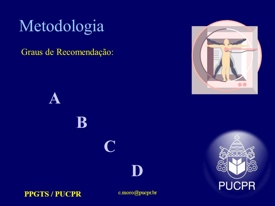 PPGTS / PUCPR c.moro@pucpr.br Metodologia Graus de Recomendação: A B C D
