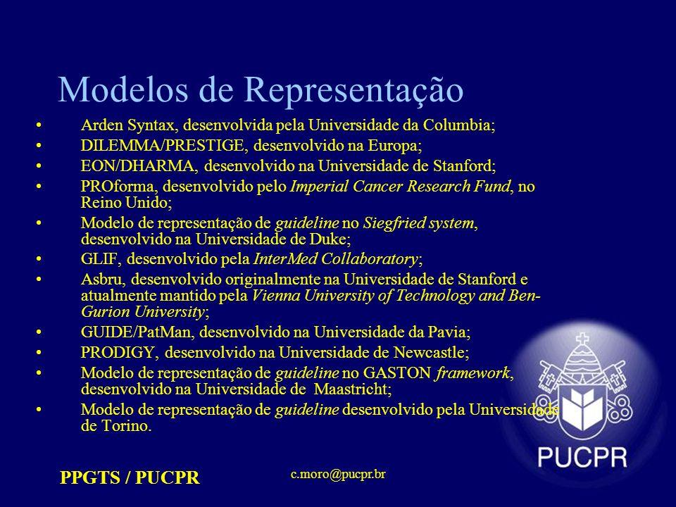PPGTS / PUCPR c.moro@pucpr.br Modelos de Representação Arden Syntax, desenvolvida pela Universidade da Columbia; DILEMMA/PRESTIGE, desenvolvido na Europa; EON/DHARMA, desenvolvido na Universidade de Stanford; PROforma, desenvolvido pelo Imperial Cancer Research Fund, no Reino Unido; Modelo de representação de guideline no Siegfried system, desenvolvido na Universidade de Duke; GLIF, desenvolvido pela InterMed Collaboratory; Asbru, desenvolvido originalmente na Universidade de Stanford e atualmente mantido pela Vienna University of Technology and Ben- Gurion University; GUIDE/PatMan, desenvolvido na Universidade da Pavia; PRODIGY, desenvolvido na Universidade de Newcastle; Modelo de representação de guideline no GASTON framework, desenvolvido na Universidade de Maastricht; Modelo de representação de guideline desenvolvido pela Universidade de Torino.