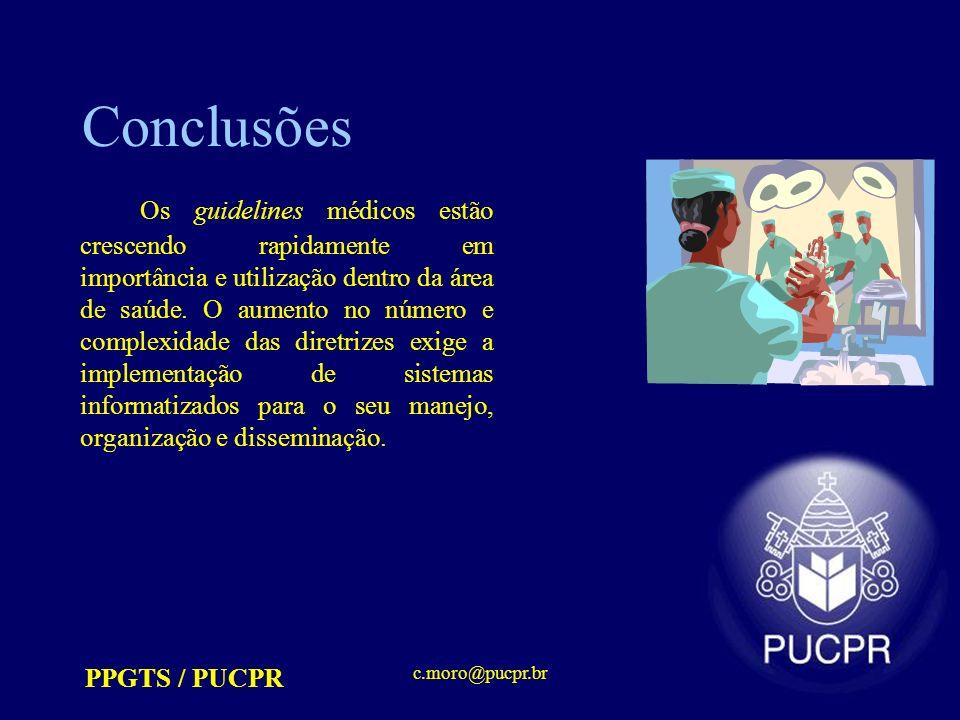 PPGTS / PUCPR c.moro@pucpr.br Conclusões Os guidelines médicos estão crescendo rapidamente em importância e utilização dentro da área de saúde. O aume