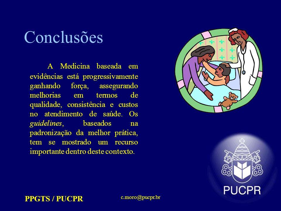 PPGTS / PUCPR c.moro@pucpr.br Conclusões A Medicina baseada em evidências está progressivamente ganhando força, assegurando melhorias em termos de qualidade, consistência e custos no atendimento de saúde.
