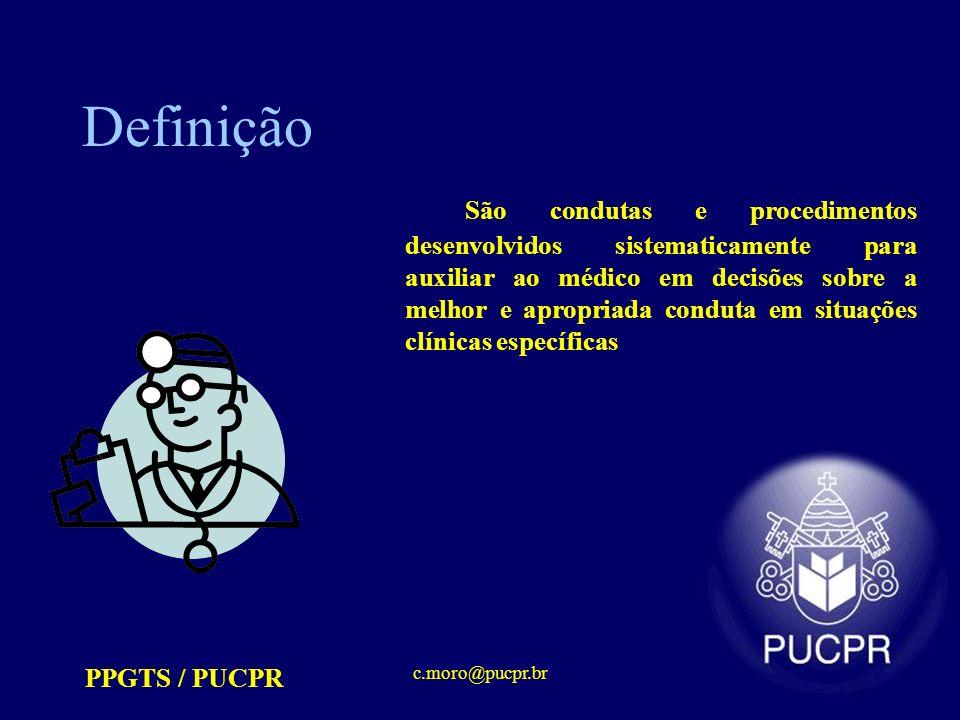 PPGTS / PUCPR c.moro@pucpr.br Definição São condutas e procedimentos desenvolvidos sistematicamente para auxiliar ao médico em decisões sobre a melhor e apropriada conduta em situações clínicas específicas