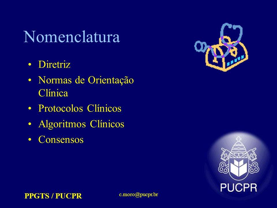 PPGTS / PUCPR c.moro@pucpr.br Nomenclatura Diretriz Normas de Orientação Clínica Protocolos Clínicos Algoritmos Clínicos Consensos