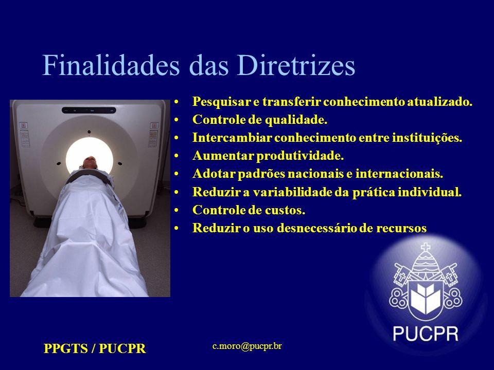 PPGTS / PUCPR c.moro@pucpr.br Finalidades das Diretrizes Pesquisar e transferir conhecimento atualizado. Controle de qualidade. Intercambiar conhecime