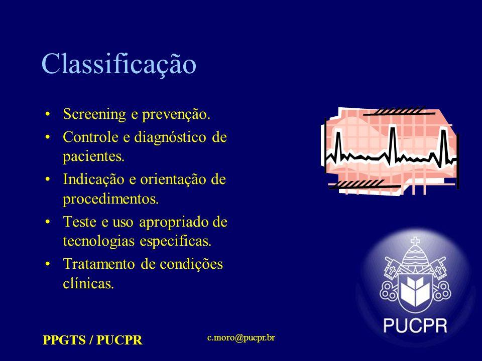 PPGTS / PUCPR c.moro@pucpr.br Classificação Screening e prevenção. Controle e diagnóstico de pacientes. Indicação e orientação de procedimentos. Teste