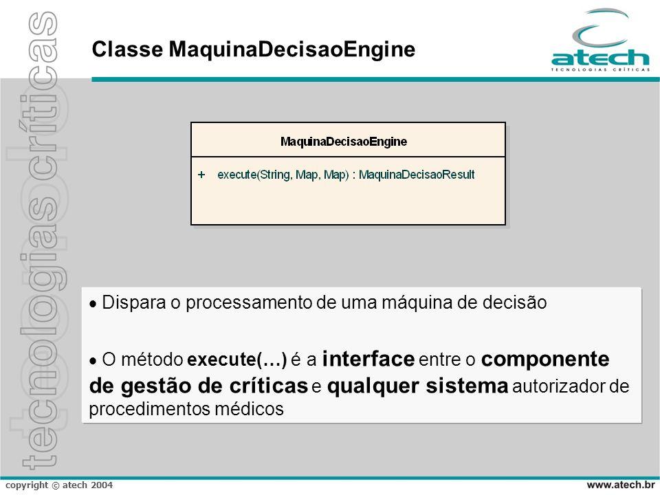 copyright © atech 2004 Classe MaquinaDecisaoEngine Dispara o processamento de uma máquina de decisão O método execute(…) é a interface entre o compone