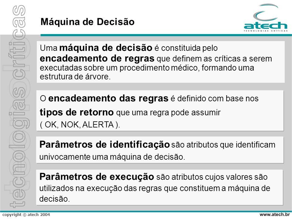 copyright © atech 2004 Máquina de Decisão Parâmetros de execução são atributos cujos valores são utilizados na execução das regras que constituem a má