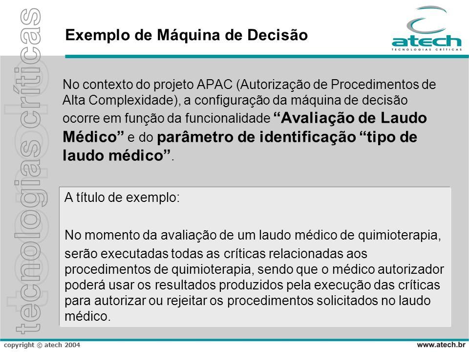 copyright © atech 2004 Exemplo de Máquina de Decisão No contexto do projeto APAC (Autorização de Procedimentos de Alta Complexidade), a configuração d