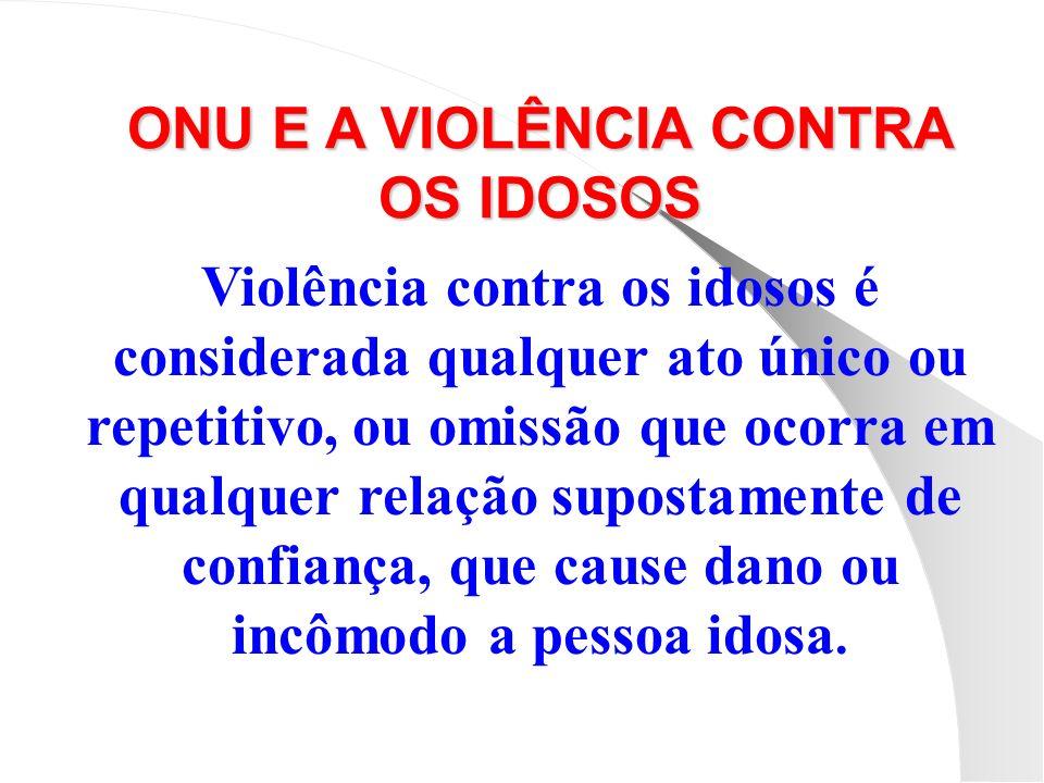 Violência contra os idosos é considerada qualquer ato único ou repetitivo, ou omissão que ocorra em qualquer relação supostamente de confiança, que ca