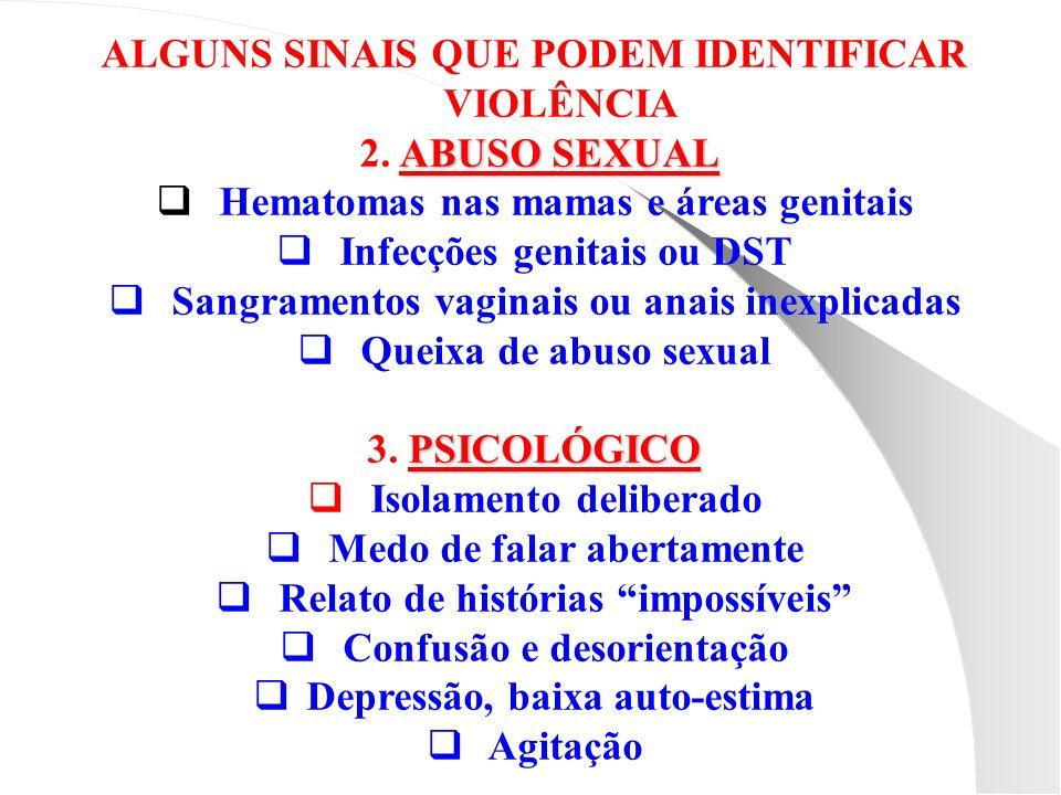 ALGUNS SINAIS QUE PODEM IDENTIFICAR VIOLÊNCIA ABUSO SEXUAL 2. ABUSO SEXUAL Hematomas nas mamas e áreas genitais Infecções genitais ou DST Sangramentos