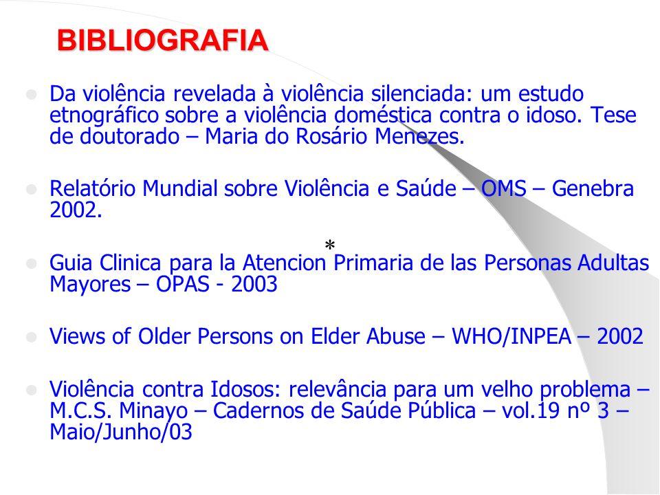 BIBLIOGRAFIA Da violência revelada à violência silenciada: um estudo etnográfico sobre a violência doméstica contra o idoso. Tese de doutorado – Maria