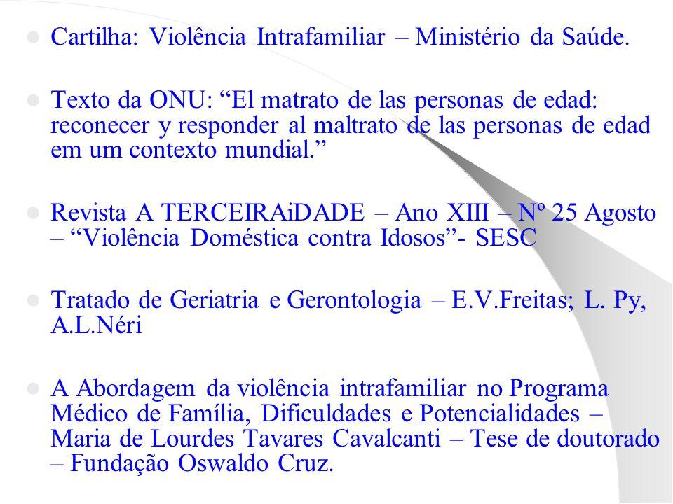 Cartilha: Violência Intrafamiliar – Ministério da Saúde. Texto da ONU: El matrato de las personas de edad: reconecer y responder al maltrato de las pe