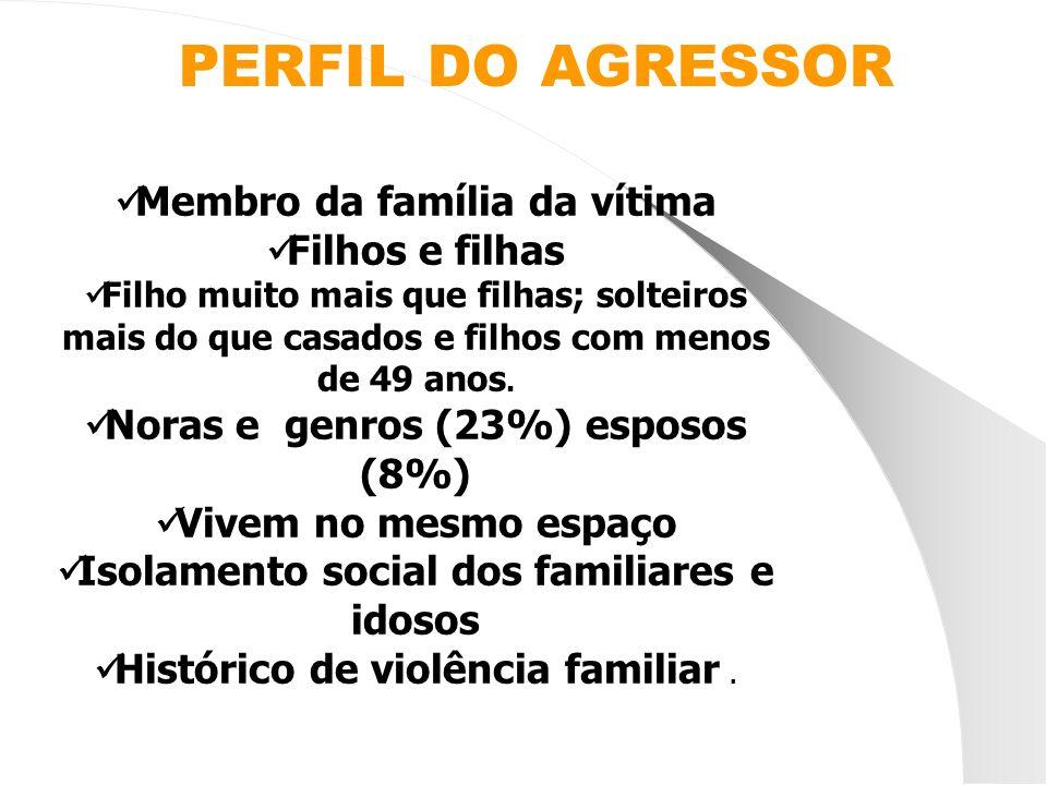 PERFIL DO AGRESSOR Membro da família da vítima Filhos e filhas Filho muito mais que filhas; solteiros mais do que casados e filhos com menos de 49 ano