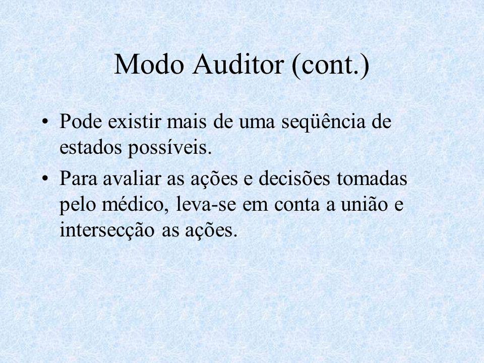 Modo Auditor (cont.) Pode existir mais de uma seqüência de estados possíveis.