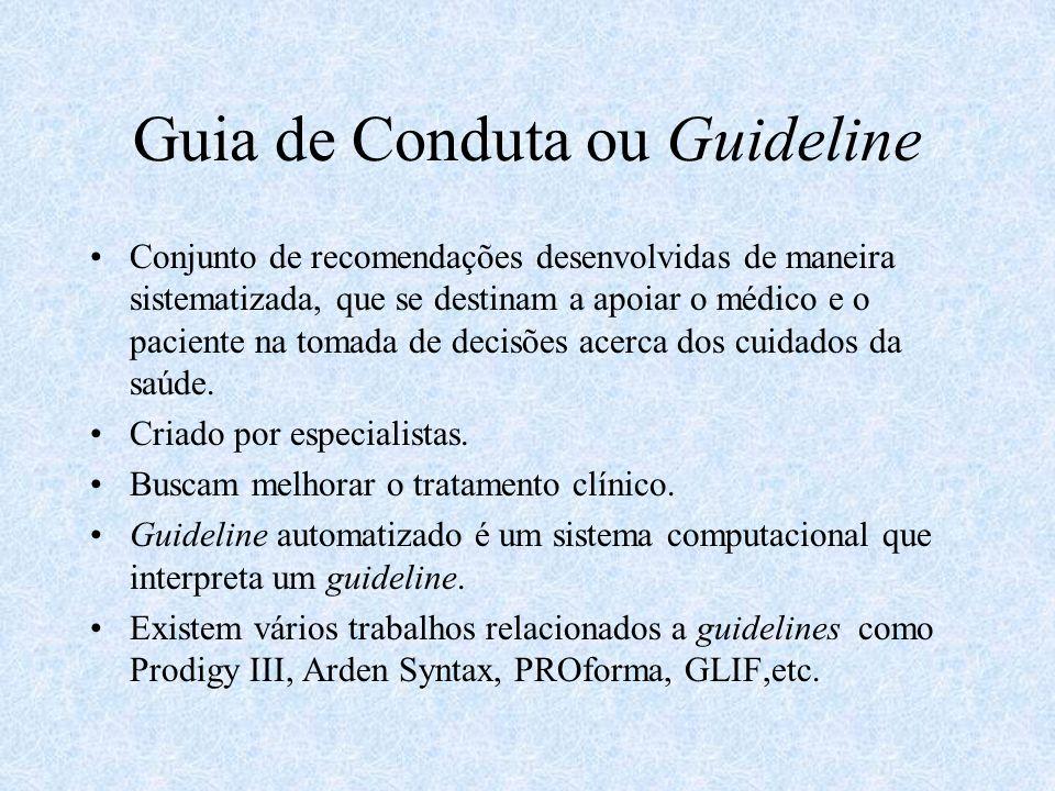 Guia de Conduta ou Guideline Conjunto de recomendações desenvolvidas de maneira sistematizada, que se destinam a apoiar o médico e o paciente na tomada de decisões acerca dos cuidados da saúde.