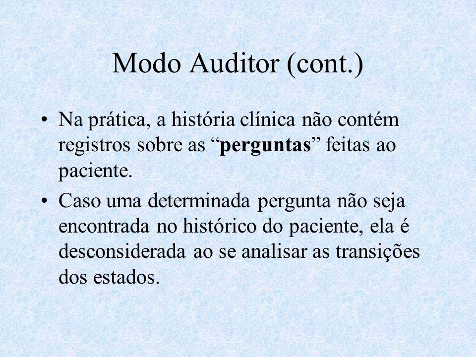 Modo Auditor (cont.) Na prática, a história clínica não contém registros sobre as perguntas feitas ao paciente.