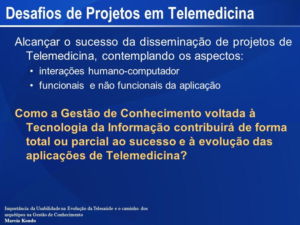 Importância da Usabilidade na Evolução da Telesaúde e o caminho dos arquétipos na Gestão de Conhecimento Marcia Kondo Desafios de Projetos em Telemedi