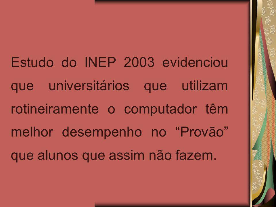 Estudo do INEP 2003 evidenciou que universitários que utilizam rotineiramente o computador têm melhor desempenho no Provão que alunos que assim não fa