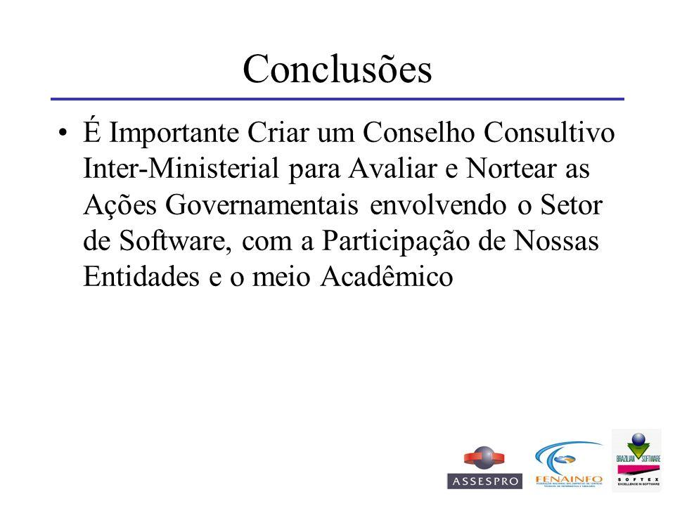 Conclusões É Importante Criar um Conselho Consultivo Inter-Ministerial para Avaliar e Nortear as Ações Governamentais envolvendo o Setor de Software,