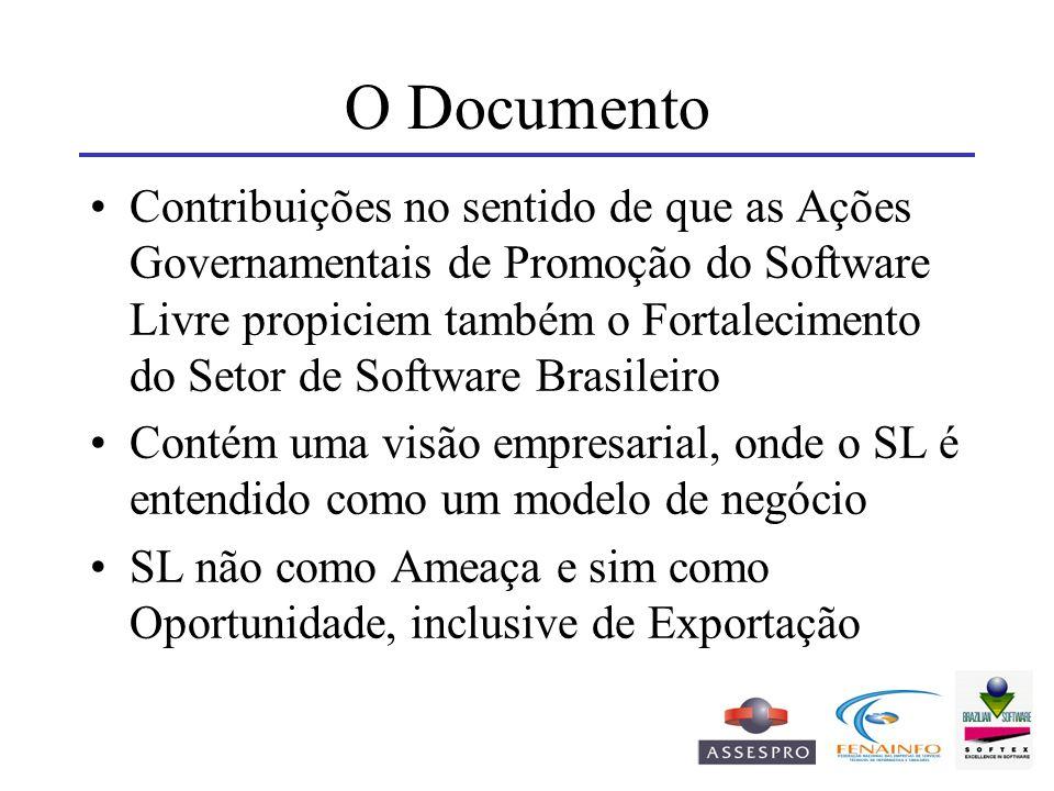 O Documento Contribuições no sentido de que as Ações Governamentais de Promoção do Software Livre propiciem também o Fortalecimento do Setor de Softwa