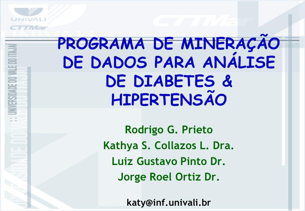 PROGRAMA DE MINERAÇÃO DE DADOS PARA ANÁLISE DE DIABETES & HIPERTENSÃO Rodrigo G.