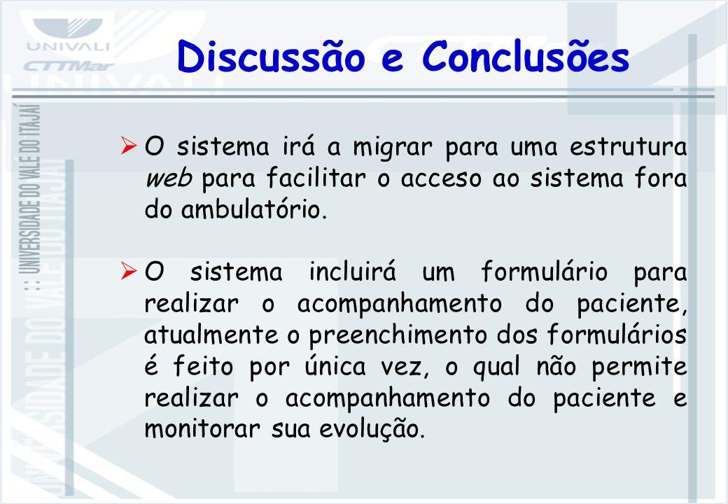 Discussão e Conclusões O sistema irá a migrar para uma estrutura web para facilitar o acceso ao sistema fora do ambulatório.