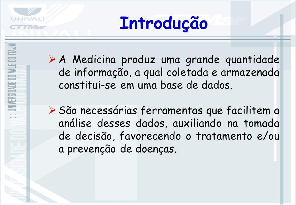 Introdução A Medicina produz uma grande quantidade de informação, a qual coletada e armazenada constitui-se em uma base de dados.