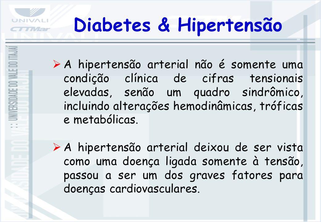 Diabetes & Hipertensão A hipertensão arterial não é somente uma condição clínica de cifras tensionais elevadas, senão um quadro sindrômico, incluindo alterações hemodinâmicas, tróficas e metabólicas.
