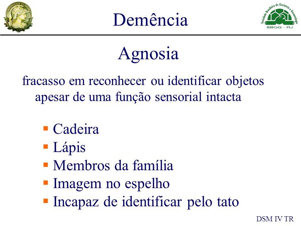 Demência DSM IV TR Agnosia fracasso em reconhecer ou identificar objetos apesar de uma função sensorial intacta Cadeira Lápis Membros da família Imagem no espelho Incapaz de identificar pelo tato
