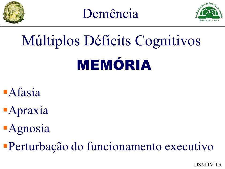 Demência Déficits Cognitivos Graves Comprometem o funcionamento ocupacional e social Declínio em relação a um nível anteriormente superior DSM IV TR