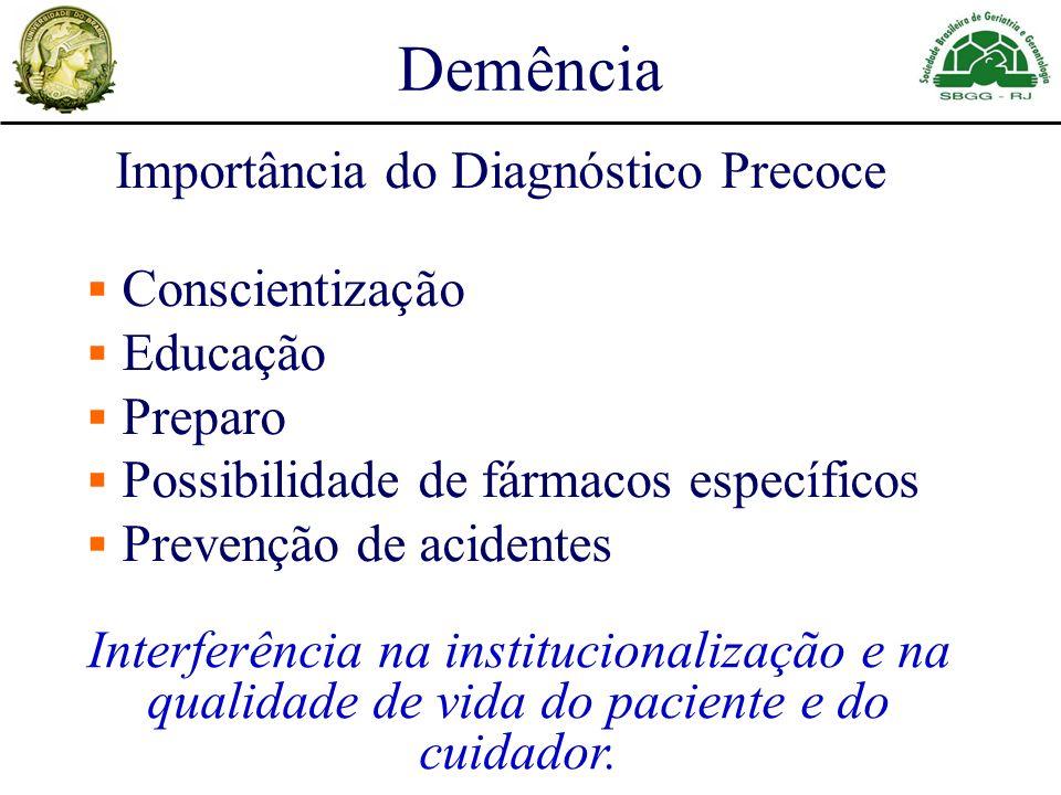 Demência Importância do Diagnóstico Precoce Conscientização Educação Preparo Possibilidade de fármacos específicos Prevenção de acidentes Interferênci