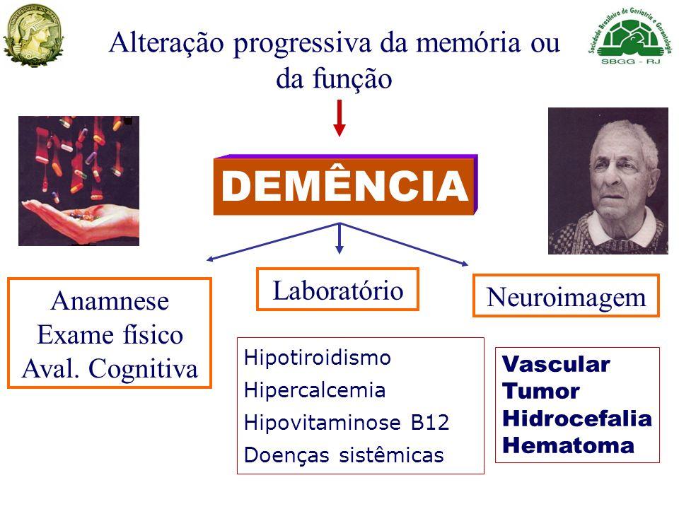 Alteração progressiva da memória ou da função DEMÊNCIA Anamnese Exame físico Aval. Cognitiva Laboratório Neuroimagem Vascular Tumor Hidrocefalia Hemat