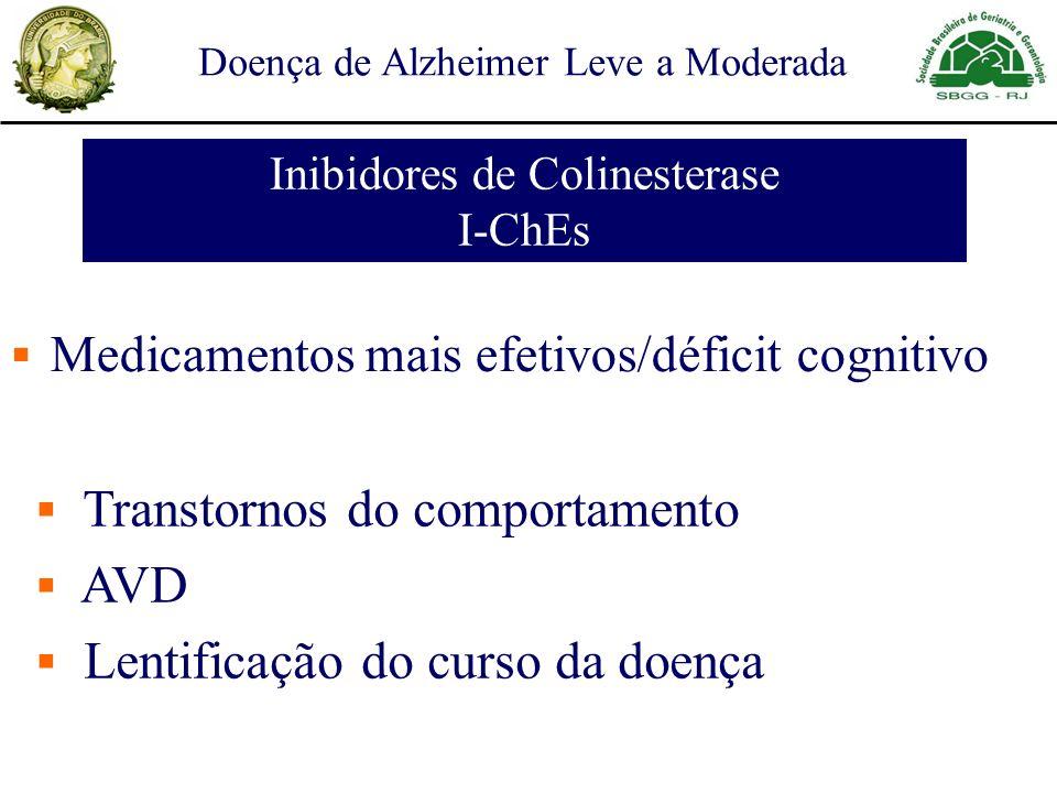 Medicamentos mais efetivos/déficit cognitivo Transtornos do comportamento AVD Lentificação do curso da doença Inibidores de Colinesterase I-ChEs Doenç