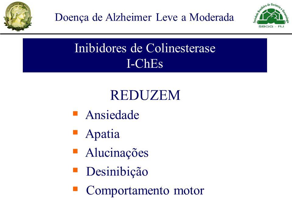 Inibidores de Colinesterase I-ChEs REDUZEM Ansiedade Apatia Alucinações Desinibição Comportamento motor Doença de Alzheimer Leve a Moderada