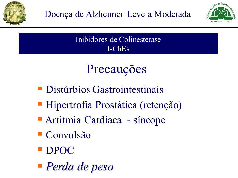 Doença de Alzheimer Leve a Moderada Inibidores de Colinesterase I-ChEs Precauções Distúrbios Gastrointestinais Hipertrofia Prostática (retenção) Arritmia Cardíaca - síncope Convulsão DPOC Perda de peso