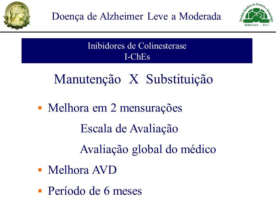 Doença de Alzheimer Leve a Moderada Inibidores de Colinesterase I-ChEs Manutenção X Substituição Melhora em 2 mensurações Escala de Avaliação Avaliaçã