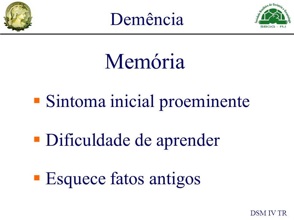 Sintoma inicial proeminente Dificuldade de aprender Esquece fatos antigos Memória Demência DSM IV TR