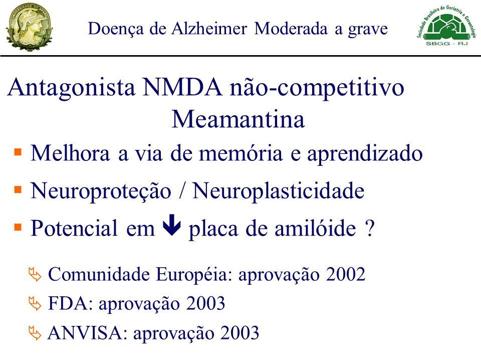 Antagonista NMDA não-competitivo Meamantina Doença de Alzheimer Moderada a grave Melhora a via de memória e aprendizado Neuroproteção / Neuroplasticidade Potencial em placa de amilóide .