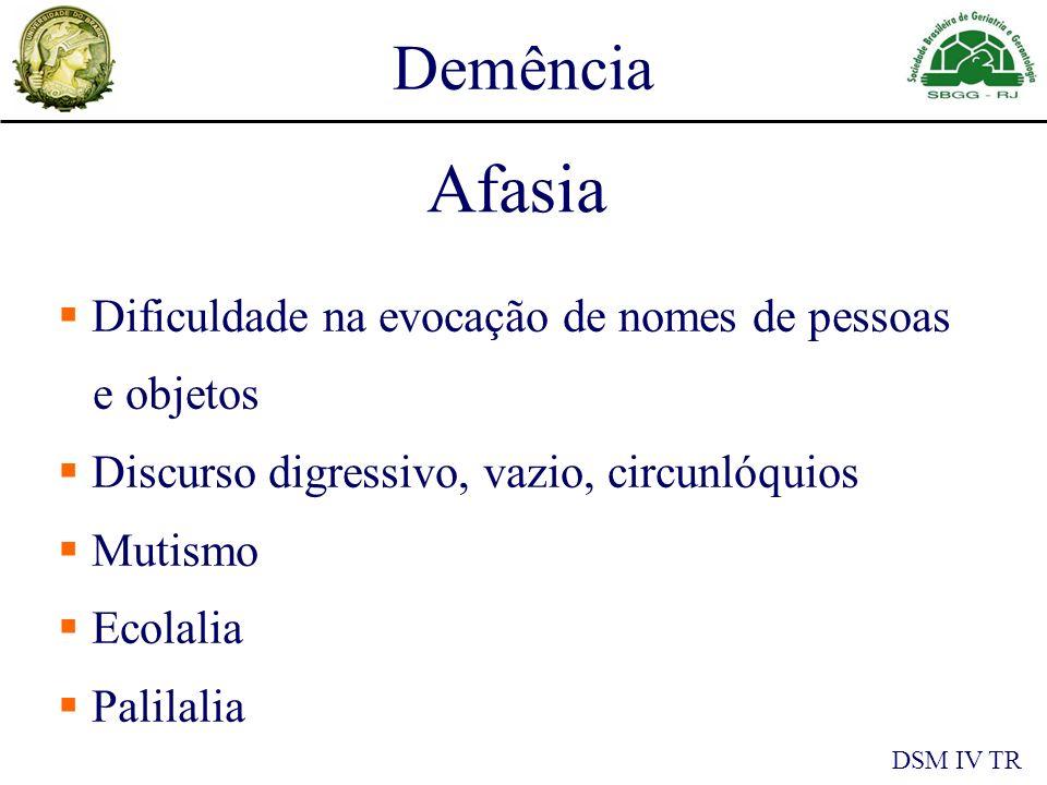 Demência DSM IV TR Afasia Dificuldade na evocação de nomes de pessoas e objetos Discurso digressivo, vazio, circunlóquios Mutismo Ecolalia Palilalia
