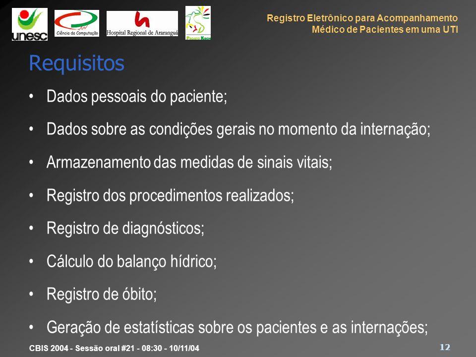 Registro Eletrônico para Acompanhamento Médico de Pacientes em uma UTI 12 CBIS 2004 - Sessão oral #21 - 08:30 - 10/11/04 Requisitos Dados pessoais do