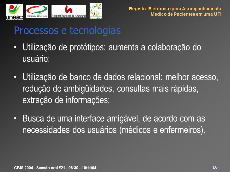 Registro Eletrônico para Acompanhamento Médico de Pacientes em uma UTI 16 CBIS 2004 - Sessão oral #21 - 08:30 - 10/11/04 Processos e tecnologias Utili