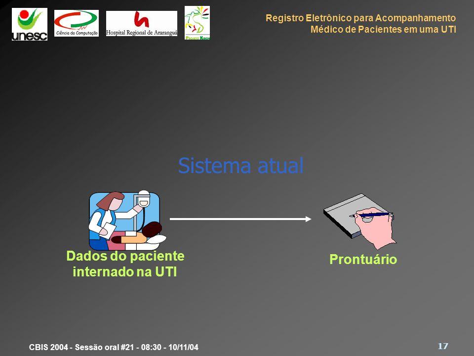 Registro Eletrônico para Acompanhamento Médico de Pacientes em uma UTI 17 CBIS 2004 - Sessão oral #21 - 08:30 - 10/11/04 Sistema atual Prontuário Dado