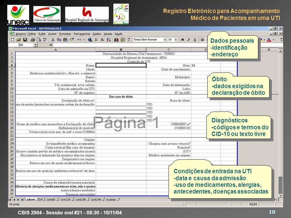 Registro Eletrônico para Acompanhamento Médico de Pacientes em uma UTI 18 CBIS 2004 - Sessão oral #21 - 08:30 - 10/11/04 Dados pessoais -identificação