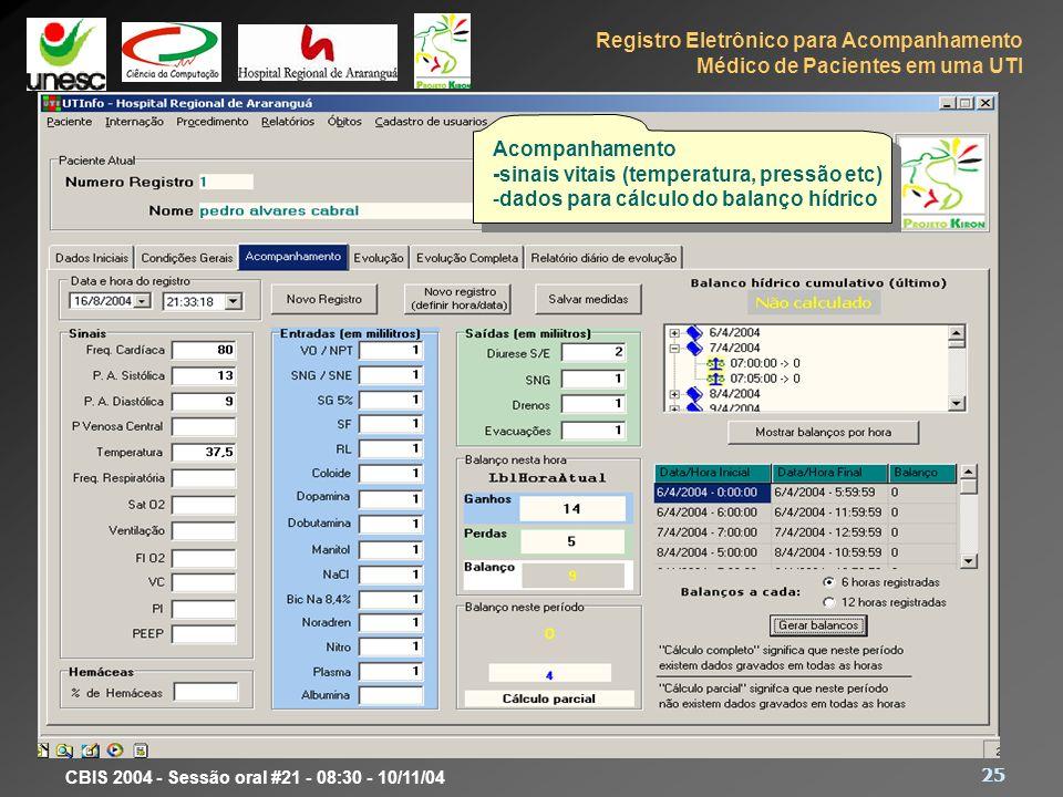 Registro Eletrônico para Acompanhamento Médico de Pacientes em uma UTI 25 CBIS 2004 - Sessão oral #21 - 08:30 - 10/11/04 Protótipo Acompanhamento -sin