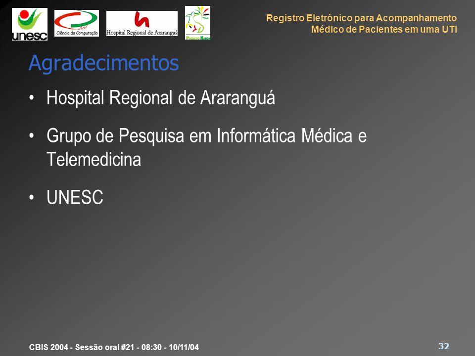Registro Eletrônico para Acompanhamento Médico de Pacientes em uma UTI 32 CBIS 2004 - Sessão oral #21 - 08:30 - 10/11/04 Agradecimentos Hospital Regio