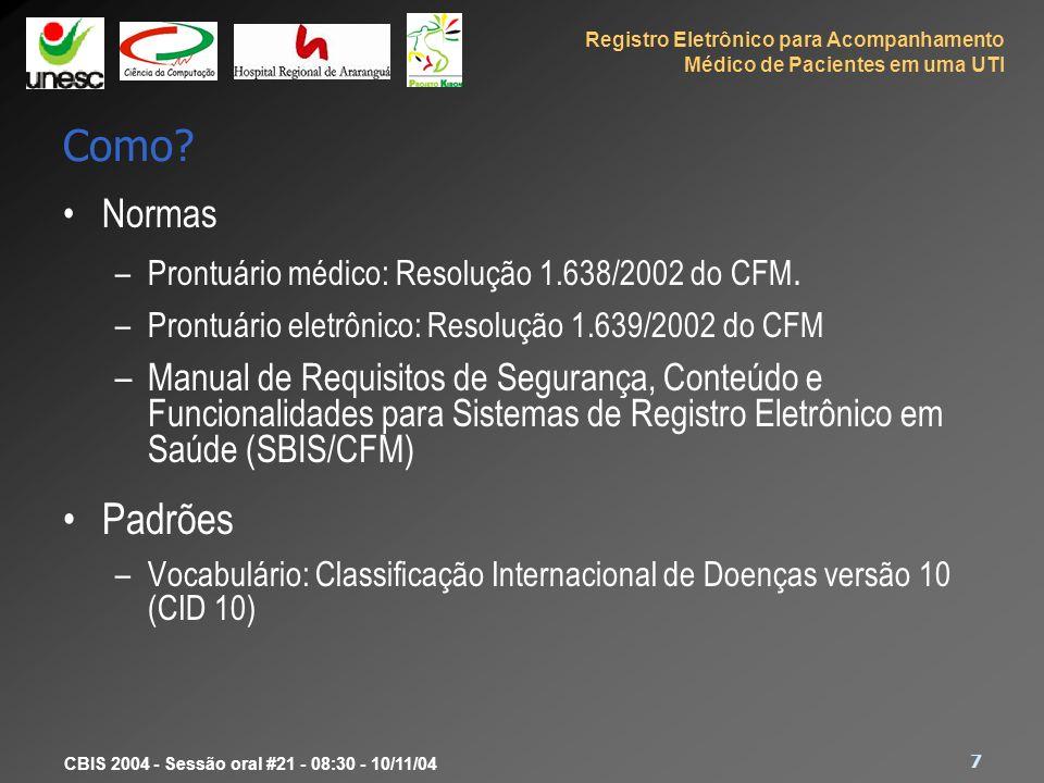 Registro Eletrônico para Acompanhamento Médico de Pacientes em uma UTI 7 CBIS 2004 - Sessão oral #21 - 08:30 - 10/11/04 Como? Normas –Prontuário médic